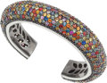 Estate Jewelry:Bracelets, A MULTI-COLOR SAPPHIRE, STERLING SILVER BRACELET, MICHAEL CAMPBELLLAURENZA. The bracelet features multi-color round-shaped ...