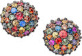 Estate Jewelry:Earrings, A PAIR OF MULTI-COLOR SAPPHIRE, STERLING SILVER EARRINGS, MICHAELCAMPBELL LAURENZA. The earrings feature multi-color round-...