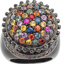 Jewelry, A MULTI-COLOR SAPPHIRE, STERLING SILVER RING, MICHAEL CAMPBELL LAURENZA. The ring features multi-color round-shaped sapphire...