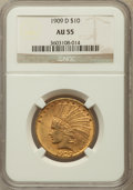 Indian Eagles: , 1909-D $10 AU55 NGC. NGC Census: (59/882). PCGS Population(114/976). Mintage: 121,540. Numismedia Wsl. Price for problem f...