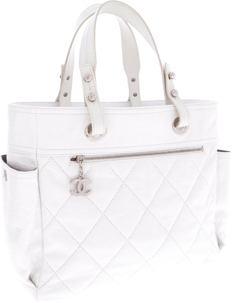 1aeb8677 Chanel White Leather Paris-Biarritz Tote Bag. ... Luxury | Lot ...