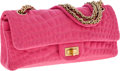 Luxury Accessories:Bags, Chanel Bubblegum Pink Crocodile Pressed Cotton East West DoubleFlap Bag. ...