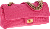 Chanel Bubblegum Pink Crocodile Pressed Cotton East West Double Flap Bag