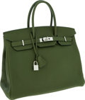 Luxury Accessories:Bags, Hermes 35cm Vert Canopee Togo Leather Birkin Bag with PalladiumHardware. ...