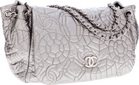 Chanel Silver Nylon Jumbo Accordion Flap Bag with Silver Hardware