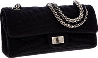 Chanel Black Crocodile Pressed Cotton East West Double Flap Bag with Mademoiselle Closure
