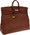 Luxury Accessories:Travel/Trunks, Hermes 55cm Noisette Ardennes Leather HAC Travel Birkin Bag withGold Hardware. ...