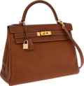 Luxury Accessories:Bags, Hermes 32cm Gold Togo Leather Retourne Kelly Bag with GoldHardware. ...
