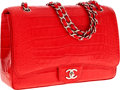 Luxury Accessories:Bags, Chanel Matte Coral Red Crocodile Maxi Single Flap Bag with SilverHardware. ...