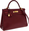Luxury Accessories:Bags, Hermes 32cm Rouge H Calf Box Leather Retourne Kelly Bag with GoldHardware. ...