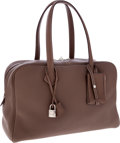 Luxury Accessories:Bags, Hermes Etoupe Clemence Leather Victoria Bag with Palladium Hardware. ...