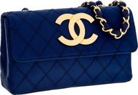 Chanel Navy Satin Quilted Evening Bag with Jumbo Gold CC