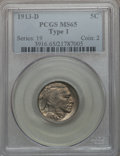 Buffalo Nickels: , 1913-D 5C Type One MS65 PCGS. PCGS Population (719/397). NGCCensus: (503/183). Mintage: 5,337,000. Numismedia Wsl. Price f...