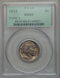 Buffalo Nickels: , 1913 5C Type One MS65 PCGS. PCGS Population (3238/2236). NGCCensus: (2376/1508). Mintage: 30,993,520. Numismedia Wsl. Pric...