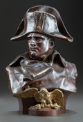 Bronze:European, A FRENCH PATINATED BRONZE BUST OF NAPOLEON ORIGINALLY RETAILED BYTIFFANY & CO., AFTER MODEL BY LORENZO COLOMBO. Dated 1885...