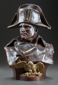 A FRENCH PATINATED BRONZE BUST OF NAPOLEON ORIGINALLY RETAILED BY TIFFANY & CO., AFTER MODEL BY LORENZO COLOMBO Da...