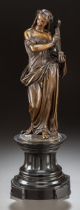 Bronze:European, A PATINATED BRONZE FIGURE OF A STANDING DRAPED WOMAN WITH A LYRE .20th century. Marks: E. de Labrou, (indecipherable). ...