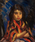 Fine Art - Painting, American:Modern  (1900 1949)  , ROBERT HENRI (American, 1865-1929). Lucinda, Mexican Girl,1916. Oil on canvas. 24 x 20 inches (61.0 x 50.8 cm). Signed ...