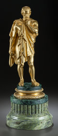 Bronze:European, A GILT BRONZE STATUE OF A DRAPED CLASSICAL MALE ON A GREEN MARBLEBASE. 20th century. 21-1/2 inches high (54.6 cm). ... (Total: 2Items)