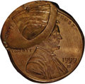 Errors, 1999-D 1C Lincoln Cent--Double Struck, 2nd Strike 55% Off Center--MS65 Red NGC. ...
