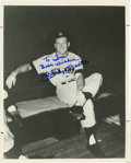 Autographs:Photos, Mickey Mantle Signed Black and White Photograph. 8x10 black andwhite photograph depicting a young Mickey Mantle sitting on...
