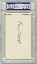 Autographs:Index Cards, Dave Bancroft Signed Index Card PSA Authentic. Top-notch example ofDave Bancroft's signature appears on this PSA-encapsul...