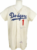 """Autographs:Jerseys, Pee Wee Reese Signed Vintage Dodgers Jersey. Vintage Dodgersflannel has been fitted with Pee Wee Reese's iconic number """"1""""..."""