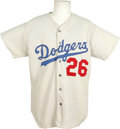 Baseball Collectibles:Uniforms, Red Adams Game Worn Jersey. White home jersey from the Los Angeles Dodgers was worn during games by pitching coach Red Adam...