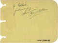 Boxing Collectibles:Autographs, Primo Carnera Signed Album Page. Standing at well over six feet,Primo was one of the tallest heavyweight boxer of his time...