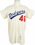 "Baseball Collectibles:Uniforms, 1963 Los Angeles Dodgers Game Worn ""#46"" Jersey. The year the franchise won their third World Series, the second since they..."