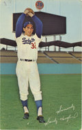 Autographs:Post Cards, Sandy Koufax Singed Postcard. Possibly the greatest left-handedpitcher to ever grace a mound, Hall of Famer Sandy Koufax a...