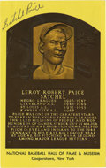 Autographs:Sports Cards, Satchel Paige Signed Hall of Fame Card. Elected to the Hall of Famein 1971, the card commemorates that occasion. Paige add...