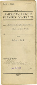 Autographs:Letters, Robert Roth Signed Baseball Contract. Beautifully preservedAmerican League Player's Contract. Contract is for 1921 between...