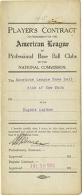 Autographs:Letters, Eugene Layden Singed Baseball Contract. Dated July 30, 1915, thisbeautifully preserved Player's Contract between the Amer...