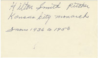 Hilton Smith Autographed Index Card. We offer a 3x5 index card with the signature of Hilton Smith. Smith, a star pitcher...