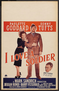 "I Love a Soldier (Paramount, 1944). Window Card (14"" X 22""). Drama"