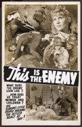 "Movie Posters:War, This Is the Enemy (Artkino Pictures, 1942). Locally Produced WindowCard (14"" X 22""). War. ..."