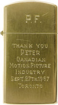 "Movie/TV Memorabilia:Memorabilia, Lighter Given to Peter Fonda While Writing ""Easy Rider."" A 1.25"" x2.25"" brass cigarette lighter with the initials ""P.F."" en...(Total: 1 Item)"