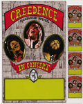 "Music Memorabilia:Posters, Creedence Clearwater Revival Concert Poster with Uncut Handbills(1971). A three-piece Creedence is pictured on this ""stock""...(Total: 1 Item)"
