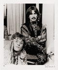 """Music Memorabilia:Photos, John Lennon and George Harrison Photo by Philip Townsend. A b&w 20"""" x 24"""" photo of Lennon and Harrison at Maharishi Mahesh Y... (Total: 1 Item)"""