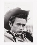 "Movie/TV Memorabilia:Photos, James Dean Headshot by Richard C. Miller. A great b&w 24"" x 20"" close-up of a brooding James Dean on the set of Giant in... (Total: 1 Item)"