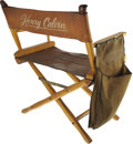 """Movie/TV Memorabilia:Memorabilia, Henry Calvin's Personal Chair from the Set of """"Zorro"""". A leatherand wood director's chair, 36"""" in height, used by actor Hen...(Total: 1 Item)"""