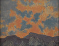 Fine Art - Painting, American:Modern  (1900 1949)  , HERBERT DEGRUFF MAIN (American Twentieth Century). MountainLandscape with Pink Sky. Oil on canvas board. 8 x 10 inches ...