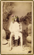 "Photography:Cabinet Photos, ARIZONA APACHE NATIVE AMERICAN INDIAN - BOUDOIR CARD - A.F. RANDALL - ca.1885. A ""Mojave Apache"" with colorized flowers ador... (Total: 1 Item)"