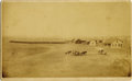 "Photography:Cabinet Photos, CROW RESERVATION BIRD'S EYE VIEW - BOUDOIR CARD - ca. 1880-90. The""Crow Agency"" or Reservation is pictured in this elevated...(Total: 1 Item)"