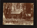 Photography:Cabinet Photos, WESTERN COWBOYS AT LOG CABIN - LARGE FORMAT CABINET CARD - ca.1895. An early shot of cowboys with a makeshift camp at an ol...(Total: 1 Item)