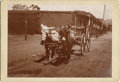 Photography:Cabinet Photos, SANTA FE, NEW MEXICO TERRITORY FIRST PLAZA BOUDOIR CARD ca 1890's -This early cabinet card, with two donkeys pulling a Mexi... (Total:1 Item)