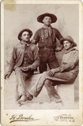 Photography:Cabinet Photos, TOUGH WORKING COWBOYS OF YANKON, SOUTH DAKOTA - CABINET CARD - ca.1890. This spectacular photograph of common ranch workingm... (Total: 1 Item)