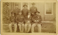 "Photography:Cabinet Photos, INDIAN POLICEMEN OF THE PINE RIDGE AGENCY, SOUTH DAKOTA ""DEATH OFSITTING BULL"" - ca. 1890. The proud and sun-weathered fac...(Total: 1 Item)"