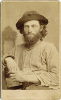 Photography:CDVs, DAKOTA TERRITORY PORTRAIT OF A MINER OR WORKING MAN - CARTE DEVISITE - ca. 1875. A nice, crisp original image of a roug...(Total: 1 Item)